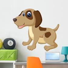 Illustration Cute Dog Cartoon Wall Decal Wallmonkeys Com