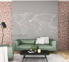 World Map Wall Decal Map Wall Sticker Travel Map Wall Decals Etsy