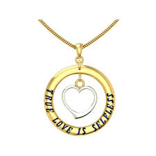 heart in round gold name pendant