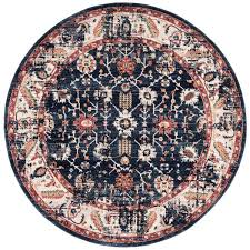 navy ivory 7 ft x 7 ft round area rug