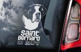 Saint Bernard On Board Car Window Sticker St Bernhardshund Dog Sign Decal V03 Dog Signs Car Window Stickers Window Stickers