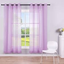 Amazon Com Lilac Purple Sheer Curtains For Girls Bedroom 2 Panels Grommet Voile Semi Sheer Curtains For Kids Room Baby Nursery Teen Toddler Teenager Littel Princess Daughter Closet Pretty Light Lavender 63 Inch