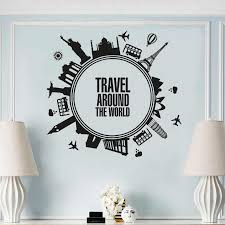 Travel Around The World Style Wall Vinyl Decal Cities Travel Theme Wall Sticker Unique Design Travelling Wall Poster Az1021 Wall Stickers Aliexpress