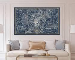 cincinnati ohio map art deco large