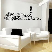 Large Wild Animal Lazily Tiger Tail Up Lying Lefr Face Wall Decal Stickers Decoration Decorative Mura Sticker Decor Removable Vinyl Wall Decals Living Room Art