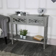 grey mirrored console table vienna range