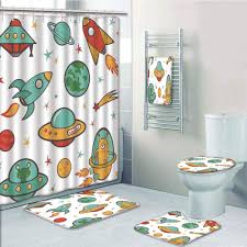 Prtau Kids Room Outer Space Rocket Space Ship Ufo Stars Planets Alien Earth Saturn Galaxy 5 Piece Bathroom Set Shower Curtain Bath Towel Bath Rug Contour Mat And Toilet Lid Cover