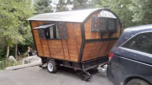woman builds gypsy wagon on her own