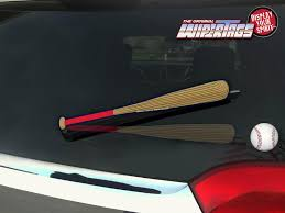 Red Navy Blue Baseball Bat Wipertags Cover Attach To Rear Wiper Blade With Ball Wipertags