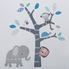 Bedtime Originals Jungle Fun Wall Decals Blue Gray Animals Jungle Safari Walmart Com Walmart Com