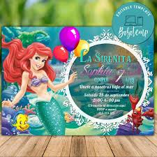 Imprimible Little Mermaid Ariel Princess Invitaciones De