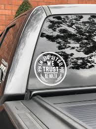 In Jiu Jitsu We Trust White Vinyl Decal Sticker Newaza Apparel
