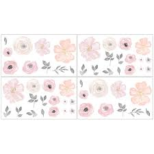 Sweet Jojo Designs Blush Pink Grey And White Peel And Stick Wall Decal Stickers Art Nursery Decor For Watercolor Floral Collection Set Of 4 Sheets Walmart Com Walmart Com