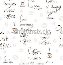 seamless pattern handwritting quotes about coffee stock vector