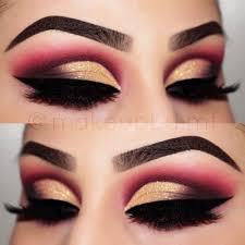 red and gold eye makeup cat eye makeup