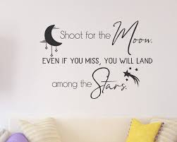 Shoot For The Moon Wall Decal Reach For The Stars Moon And Stars Inspiration Wall Art Inspirational Quote Crescent Moon Shooting Star