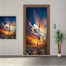 Amazon Com Angelsept Travel Decor Premium Stickers For Door Wall Fridge Home Decoraerial View Of Airport With Plane On Air Night Scene Over City Sunset Image 24x80 One Piece Sticky Mural Decal Cover Skin Home Kitchen