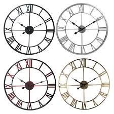 metal roman numerals big wall clock