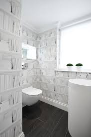 London Wallpaper Gray And White Powder Room Contemporary With Cloakroom Wall Decals
