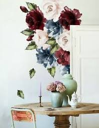 Dark Blue Peony Red And Pink Rose Floral Wall Decal Flower Vinyl Wall Sticker Ebay