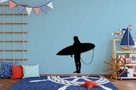 Surfer Standing Wall Decal Small Large Vinyl Surfer Wall Decals Boys Room Wall Decal Sports Home Decor Surfer Wall Wall Decals Yellow Wall Decals