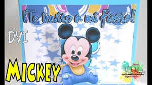 Invitacion Infantil Mickey Bebe Diy Mickey Baby Youtube