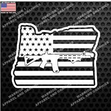 Oregon Ar 15 Gun Flag 2nd Amendment Support Vinyl Decal Warrior1apparelandgraphics