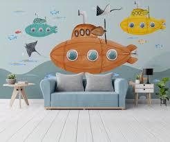 Tapeta Dziecieca Wall Mural Wallpaper Carton Submarine Sea World Contact Paper Bedroom Wallpaper For Walls Balcony Decorations Beach Wallpaper Beach Wallpapers From Griffith 26 15 Dhgate Com