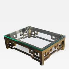 patinated brass low coffee table with