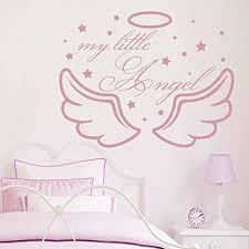 Amazon Com My Little Angel Wall Decals Wings Decal Nursery Baby Kids Girl Room Decor Vinyl Sticker Bedroom Home Decorations Mural A361 Home Kitchen