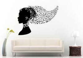 Beautiful Girl Woman Head Music Notes Hair Style Wall Decal Etsy Girls Wall Stickers Heart Wall Decal Vinyl Wall Decals