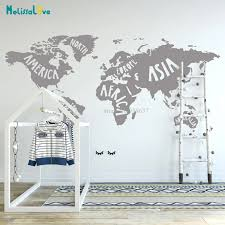 World Map Kids Room Decor Map Of The World Wall Art Nursery Playroom Classroom Preschool Stickers Ba761 Wall Stickers Aliexpress