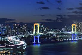Rainbow Bridge And Tokyo City Skyline At Night Wall Mural