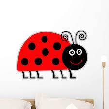 Amazon Com Wallmonkeys Cute Cartoon Lady Bug Wall Decal Peel And Stick Graphic Wm285430 24 In H X 24 In W Home Kitchen