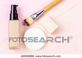 liquid foundation makeup with brush and