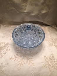 vintage light blue covered candy dish