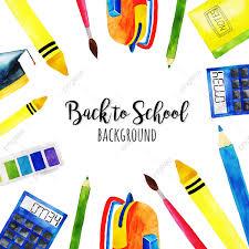 عودة الألوان المائية إلى الخلفية المدرسية مدرسة عودة طباشير Png
