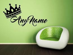 King Queen Crown Wall Sticker Custom Name Customized Any Kids Name Decals Vinyl Removable Nursery Kids Room Decor Mural Ea858 Wall Stickers Aliexpress
