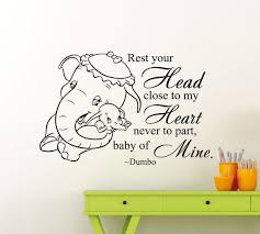 Dumbo Elephant Quote Wall Decal Disney Cartoon Vinyl Sticker Animal Home Kids Girl Boy Nursery Room Interior Art Decor Removable Mural 39me Disney Wall Decals Kids Room Wall Stickers Disney Baby