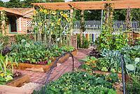 raised bed gardens stock photos