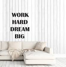 Vinyl Wall Decal Motivation Words Quote Work Hard Dream Big Gym Office Wallstickers4you