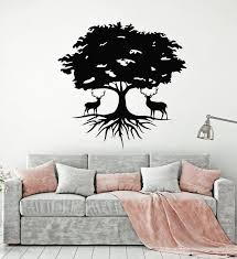 Vinyl Wall Decal Beautiful Deer Tree Animal Nature Roots Stickers Mura Wallstickers4you
