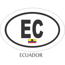 Ecuador Black And White Oval Decal Flags N Gadgets