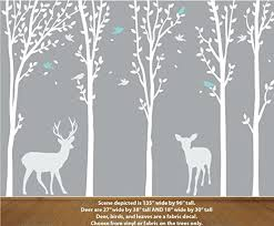 Amazon Com White Tree Wall Decal Deer Wall Decals Forest Wall Stickers Baby