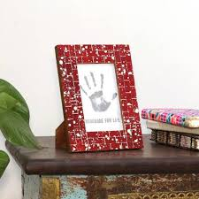 ruby red glass mosaic photo frame