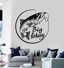 Vinyl Wall Decal Fishing Rod Catfish Big Fish Fisherman Stickers Mural Wallstickers4you
