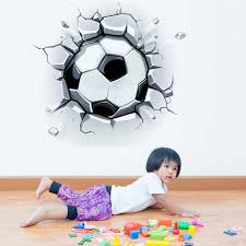 Vivid Broken 3d Football Decal For Kids Vinyl Wall Art Home Decor Wall Sticker For Toy Room Waterproof Wallpaper For Living Room Wall Stickers Aliexpress