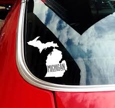 State Of Michigan Retro Font Car Decal Nudge Printing