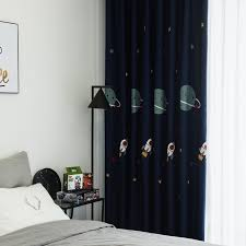 Curtain For Kids Boys Room Outer Space Design Cartoon Blue Curtain For Living Room Window Isolation Persianas 020 30 Curtains Aliexpress