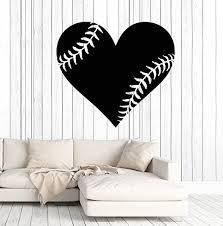 Amazon Com Vinyl Wall Decal Baseball Ball Heart Sports Fan Stickers Murals Large Decor Ig4757 Gold Metallic Home Kitchen